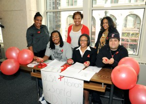 Members of the Black Law Students Association (BLSA) marked World AIDS Day with red ribbons as a reminder of the work to be done in fighting the disease.