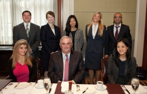 During his week as the Distinguished International Jurist In Residence, Mr. Justice John Murray (seated), a member of the Irish Supreme Court, enjoyed breakfast with John Marshall students Brittany Anselmo (seated, left) and Sarah Wang (seated, right), and (standing from left) Patrick Collins, Pamela Szelung, Amanda Koehler, Melissa Soso and Shayan Davoudi.