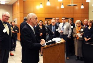 Professor Michael Seng addressed the many guests who gathered Oct. 30 for a celebration of the 20 years of service performed by the students and staff at the Fair Housing Legal Clinic.