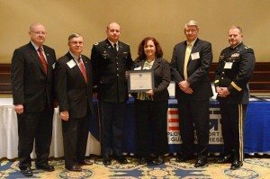 (Left to right) Terry McCollum - ESGR Area Chair, Ron Bacci - State Chair for ESGR, 1LT LACY, Jodie, Alex Baird - Principle Deputy Director for ESGR, and Major General Kendall Penn