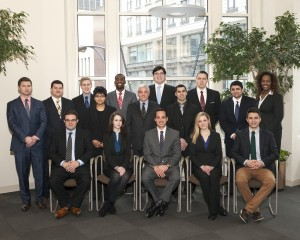 The Spring 2013 members of the Business Enterprise Law Clinic are (seated, from left) Vincent Incopero, Jerica Feller, Timothy Oliver, Caitlin Pabst, Justin Leigh; (middle, from left) Tanvi Sheth, Clinic Director Michael Schlesinger, Jordan Greenberg, Suneet Gautam and (back row, from left) David McGuffey, Patrick Collins, Brian Wendt, Charles Hawkins, Jr., Cullen Baldwin, Matthew Hug, Dibora Berhanu