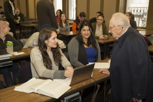 Guest presenter Ben B. Ferencz chats with students before his presentation as the Dean Fred F. Herzog Memorial Lecture speaker.  Ferencz served as the chief prosecutor for the U.S. Army in the Einsatzgruppen Trial, one of the 12 military trials held at Nuremberg, Germany, after World War II.