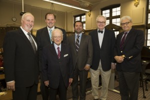 Welcoming Ben Ferencz (second from left) to The John Marshall Law School are (from left) Professors Gerald Berendt, Mark Wojcik, Shahram Dana, Dean John E. Corkery and DePaul University Professor Emeritus Cherif Bassiouni (LL.M. '66).