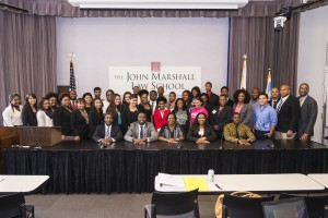All participants pose for a group photo. The programs, hosted by the Office of Diversity Affairs, are for outstanding college students with an interest in attending law school