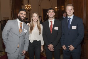 Michael Farr chatted with fellow first-year students Lucy Browne, Michael Daniels and John Kirschmeier at their first Student/Alumni Exchange on September 11, 2014.