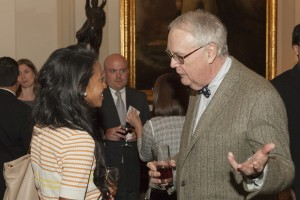 Dean John Corkery catches up with alum Junira Castillo (JD '14) at the annual Student/Alumni Exchange.