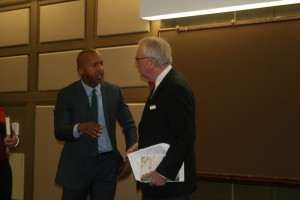 Dean Corkery thanks Bryan Stevenson (left) for speaking at John Marshall. Stevenson focused his lecture on the injustice he sees in the criminal justice system.