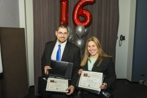 Students James Nowak and Kristen Sample were honored with the Golden Gavel Award at the annual Trial Advocacy Gala.