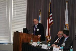 Meterologist Tom Skilling spoke on a panel organized by John Marshall's Center for Real Estate regarding climate change.