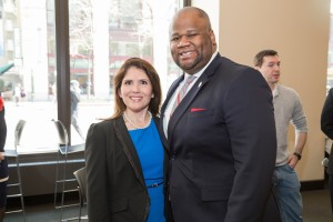 SBA President Raymond Rushing stands with Lt. Gov. Sanguinetti. The event was by the SBA & the Office of Alumni Relations.