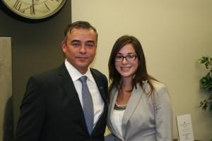 Former VLSC staff attorney Jaime Martinez stands with JMLS SVA President Patricia Liggett.